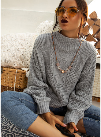 Stand collar Casual Solid Cable-knit Chunky knit Sweaters