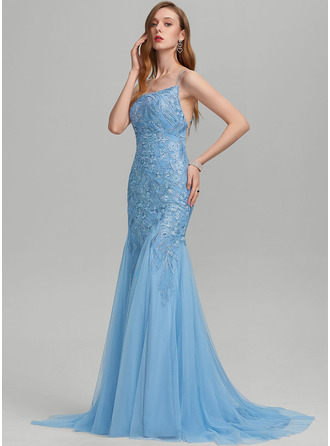 Trumpet/Mermaid Square Neckline Sweep Train Tulle Prom Dresses With Sequins