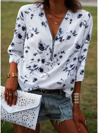 Floral Print V-Neck 1/2 Sleeves Casual Blouses