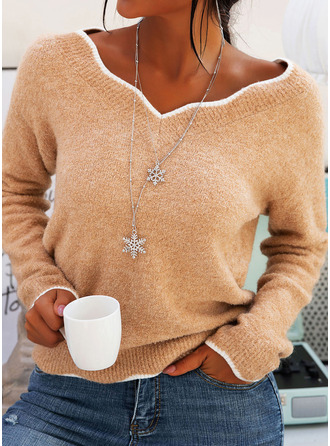 V-Neck Casual Solid Chunky knit Sweaters (1002249958)