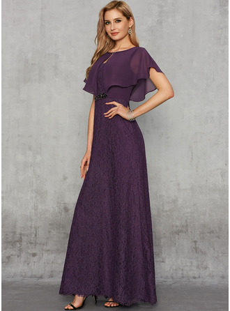 A-Line Scoop Neck Floor-Length Chiffon Lace Evening Dress With Lace Beading