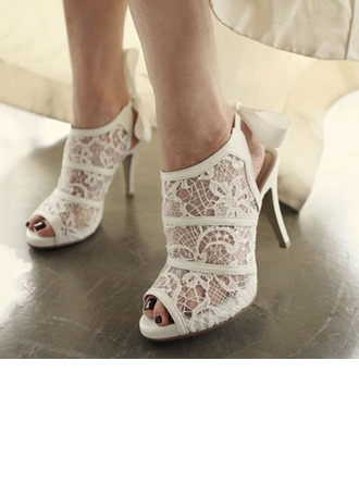 Women's Lace Stiletto Heel Boots Peep Toe Beach Wedding Shoes