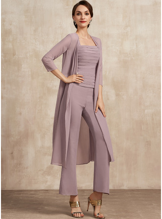 Jumpsuit/Pantsuit Square Neckline Ankle-Length Chiffon Mother of the Bride Dress With Ruffle