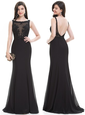 Sheath/Column Scoop Neck Sweep Train Chiffon Evening Dress With Bow(s)