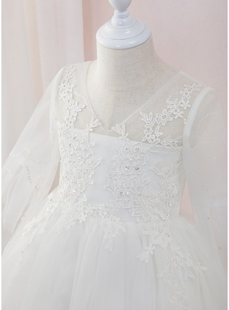 Ball-Gown/Princess Ankle-length Flower Girl Dress - Tulle/Lace Long Sleeves V-neck With Beading
