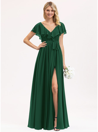 A-Line V-neck Floor-Length Chiffon Evening Dress With Bow(s) Split Front Cascading Ruffles