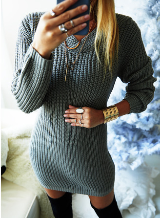 V-Neck Casual Long Solid Chunky knit Sweaters