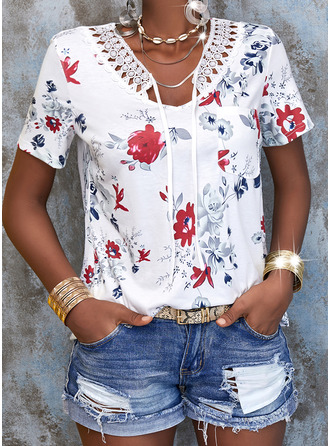 Floral Lace Print Lace-up V-Neck Short Sleeves Casual Blouses