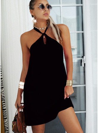 Solid Backless Shift Sleeveless Mini Casual Dresses