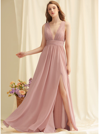 A-Line V-neck Floor-Length Chiffon Dresses
