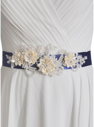 Gorgeous Satin Sash With Flower/Imitation Pearls