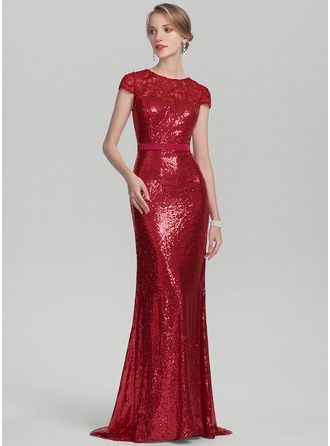 Trumpet/Mermaid Scoop Neck Sweep Train Lace Sequined Mother of the Bride Dress