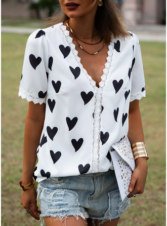 Lace Print V-Neck Short Sleeves Casual Blouses