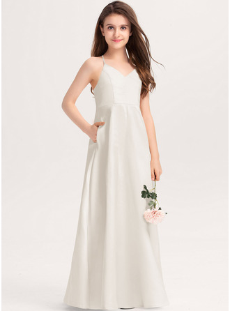 A-Line V-neck Floor-Length Satin Junior Bridesmaid Dress With Pockets