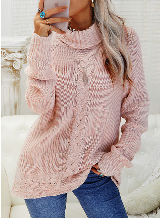 Turtleneck Casual Solid Cable-knit Sweaters
