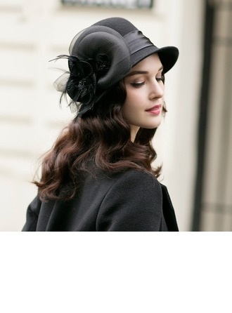 Ladies' Gorgeous/Elegant Wool With Feather/Tulle Bowler/Cloche Hat