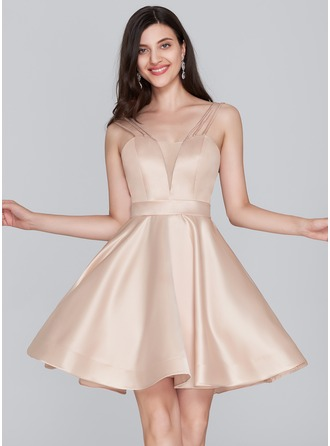 A-Line Sweetheart Short/Mini Satin Homecoming Dress