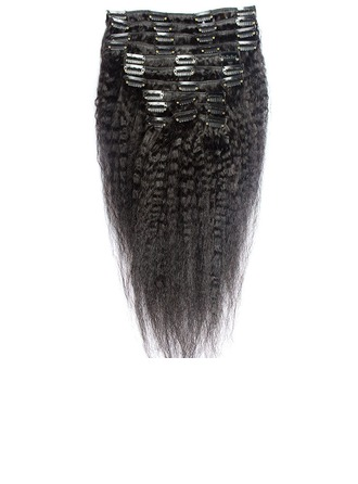 3A Curly Human Hair Clip in Hair Extensions 8pcs