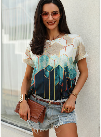Print Round Neck Short Sleeves Casual T-shirt