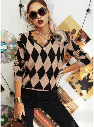 V-Neck Casual Lace Geometric Print Sweaters