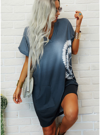 Tie Dye Print Shift Short Sleeves Mini Casual T-shirt Dresses