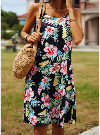 Floral Print Shift Sleeveless Midi Casual Vacation Type Dresses
