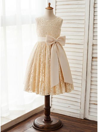 A-Line/Princess Knee-length Flower Girl Dress - Satin/Lace Sleeveless Scoop Neck With Bow(s)