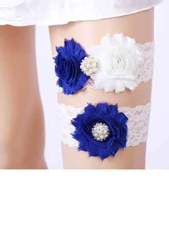 2-Piece/Sexy Lace With Flower/Rhinestone Wedding Garters