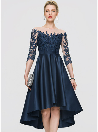 A-Line Scoop Neck Asymmetrical Satin Cocktail Dress With Beading
