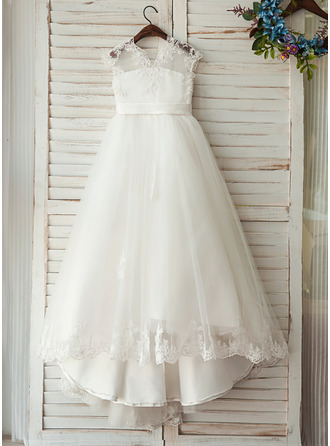 A-Line/Princess Floor-length Flower Girl Dress - Tulle/Lace Sleeveless V-neck With Undetachable Sash