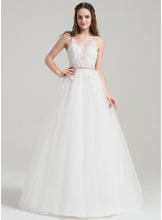 Ball-Gown V-neck Floor-Length Tulle Wedding Dress With Beading Appliques Lace Sequins