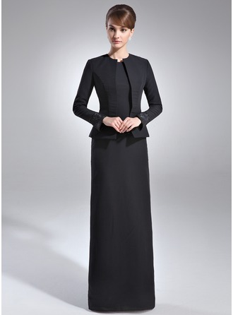 Sheath/Column Scoop Neck Floor-Length Chiffon Mother of the Bride Dress With Sequins