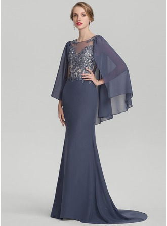 Trumpet/Mermaid Scoop Neck Sweep Train Chiffon Lace Mother of the Bride Dress With Beading Sequins