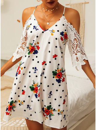 Above Knee Spaghetti Straps Polyester Lace/Print 1/2 Sleeves/Cold Shoulder Sleeve Fashion Dresses