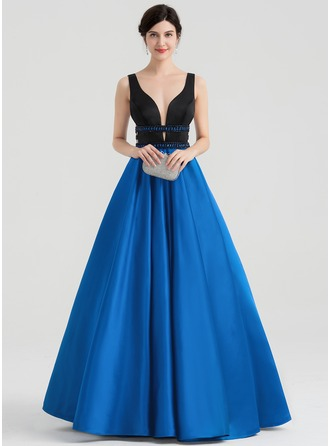 Ball-Gown V-neck Floor-Length Satin Evening Dress With Beading Sequins
