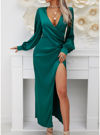 Solid A-line Lantern Sleeve Long Sleeves Maxi Party Skater Wrap Dresses