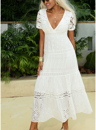 Maxi V neck Polyester/Lace Lace/Solid Short Sleeves Fashion Dresses