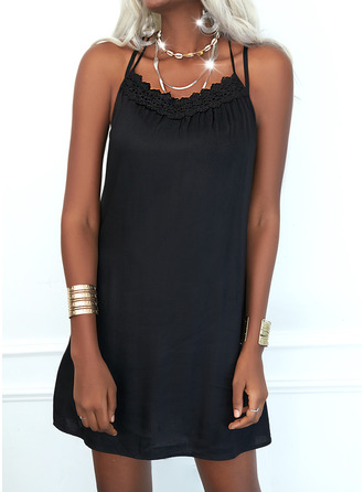 Lace Solid Shift Sleeveless Mini Little Black Casual Type Dresses