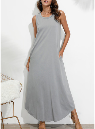 Solid Shift Sleeveless Maxi Casual Tank Dresses