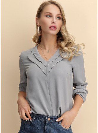 Solid V-Neck Long Sleeves Casual Elegant