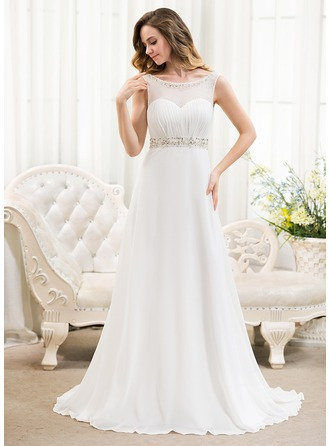 A-Line/Princess Scoop Neck Sweep Train Chiffon Wedding Dress With Ruffle Beading Sequins