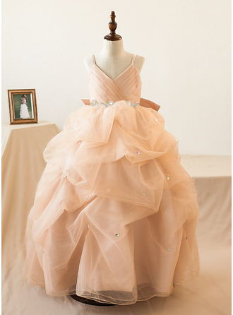 Ball-Gown/Princess Straps Floor-length With Bow(s) Tulle Flower Girl Dress
