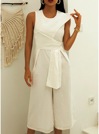 Solid Sleeveless Casual Elegant Jumpsuits Dresses