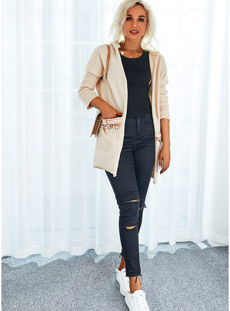 Hooded Boho Solid Sweaters