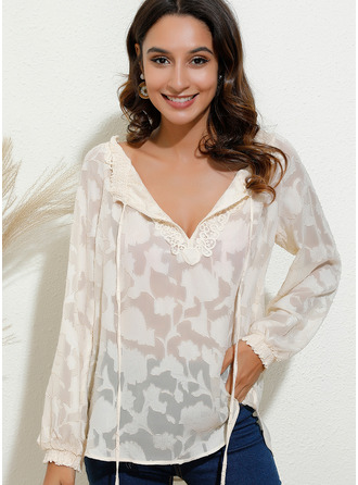 Lace Long Sleeves Cotton Blends V Neck Blouses
