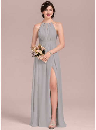 A-Line/Princess Scoop Neck Floor-Length Chiffon Evening Dress With Ruffle Bow(s) Split Front