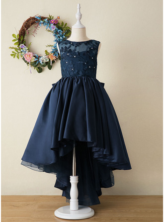 Ball-Gown/Princess Asymmetrical Flower Girl Dress - Satin Sleeveless Scoop Neck With Embroidered/Bow(s)