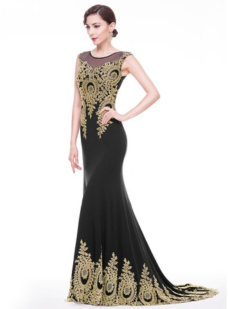 Trumpet/Mermaid Scoop Neck Court Train Jersey Prom Dress With Appliques Lace