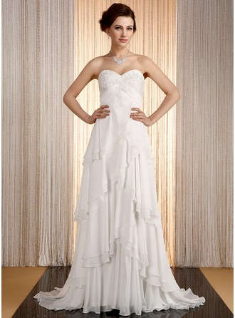 Empire Sweetheart Sweep Train Chiffon Wedding Dress With Appliques Lace Cascading Ruffles
