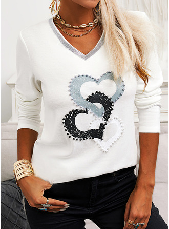 Print Sequins Heart V-Neck Long Sleeves Casual T-shirt